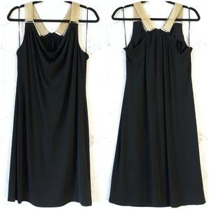 Black Sleeveless Dress Gold Tone Chain Straps L
